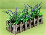 Levandule truhlík umělina+dřevo 30x10V20cm fialová - velkoobchod, dovoz květin, řezané květiny Brno