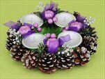Adventní věnec šiškový stříbrný-fialový - velkoobchod, dovoz květin, řezané květiny Brno