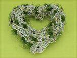 Srdce proutí pr.32x33cm šedá/zelená - velkoobchod, dovoz květin, řezané květiny Brno