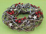 Věnec s bobulkama ratan/glitter hnědá - velkoobchod, dovoz květin, řezané květiny Brno
