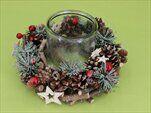 Svícen zeleň/šišky/sklo mix - velkoobchod, dovoz květin, řezané květiny Brno
