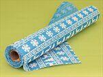 Juta vánoční potisk  36cm/5m modrá/bílá - velkoobchod, dovoz květin, řezané květiny Brno