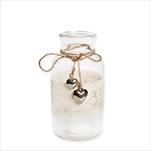 Váza sklo/tetil/kov 6,5x12,5cm natural - velkoobchod, dovoz květin, řezané květiny Brno