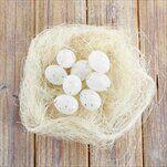 Vajíčka přízdoby pvc/sisal 12ks/2,5cm bílá/natural - velkoobchod, dovoz květin, řezané květiny Brno