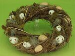Věnec vajíčka/proutí 35cm natural/zelená - velkoobchod, dovoz květin, řezané květiny Brno
