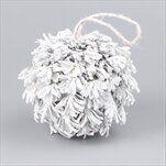 Koule šišky závěs 15cm bílá/gliter - velkoobchod, dovoz květin, řezané květiny Brno