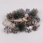Vánoční přízdoby dřevo/šišky natural/bílá - velkoobchod, dovoz květin, řezané květiny Brno
