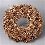 Věnec šišky vánoční pr.32cm zlatá - velkoobchod, dovoz květin, řezané květiny Brno