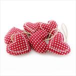 Srdce závěs textil 6ks/6cm červená - velkoobchod, dovoz květin, řezané květiny Brno