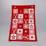 Adventní kalendář textil 40x63cm červená - velkoobchod, dovoz květin, řezané květiny Brno