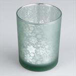 Svícen sklo 7,3x8cm mint/stříbrná - velkoobchod, dovoz květin, řezané květiny Brno