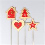 Vánoční zápich dřevo 8/23cm červená/zlatá mix - velkoobchod, dovoz květin, řezané květiny Brno