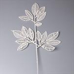 Větev listy pvc 42cm bílá gliter - velkoobchod, dovoz květin, řezané květiny Brno