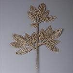 Větev listy pvc 42cm šampáň gliter - velkoobchod, dovoz květin, řezané květiny Brno