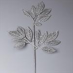 Větev listy pvc 42cm stříbrná gliter - velkoobchod, dovoz květin, řezané květiny Brno