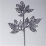 Větev listy pvc 42cm šedá gliter - velkoobchod, dovoz květin, řezané květiny Brno