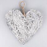 Srdce závěs proutí 25cm šedá - velkoobchod, dovoz květin, řezané květiny Brno