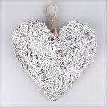 Srdce proutí 25cm šedá - velkoobchod, dovoz květin, řezané květiny Brno