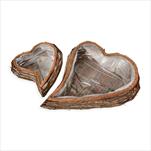 Srdce proutí/pvc 2ks/47-30x24x41-23cm natural - velkoobchod, dovoz květin, řezané květiny Brno