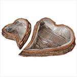 Srdce proutí/pvc 2ks/46-33x52c39m natural - velkoobchod, dovoz květin, řezané květiny Brno