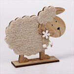 Ovečka stojící dřevo/textil 13 cm natural - velkoobchod, dovoz květin, řezané květiny Brno