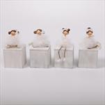 Krabička baletka dřevo/keramika 6,4/13cm bílá - velkoobchod, dovoz květin, řezané květiny Brno