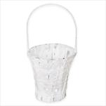 Košík svatební kov/papír pr.15V15/30cm bílá - velkoobchod, dovoz květin, řezané květiny Brno