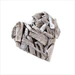 Srdce dřevo 23cm šedá patina - velkoobchod, dovoz květin, řezané květiny Brno