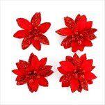 Poensetie květ textil 4ks/10,5cm červená - velkoobchod, dovoz květin, řezané květiny Brno