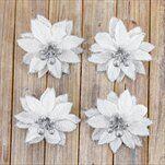 Poensetie květ textil 4ks/10,5cm bílá - velkoobchod, dovoz květin, řezané květiny Brno