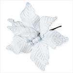 Poinsettie zápich textil/pvc 15cm bílá/gliter - velkoobchod, dovoz květin, řezané květiny Brno