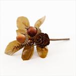 Větvička podzimní textil/pvc 11,5cm hnědá - velkoobchod, dovoz květin, řezané květiny Brno