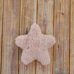 Hvězda textil závěs 12cm růžová - velkoobchod, dovoz květin, řezané květiny Brno