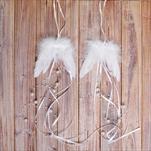 Křídla závěs peří/texti/pvc 10x9/37cm bílá - velkoobchod, dovoz květin, řezané květiny Brno