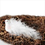 Ptáček zápich pvc/peří 11cm bílá - velkoobchod, dovoz květin, řezané květiny Brno