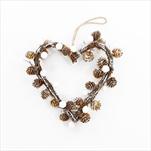 Srdce závěs šišky/proutí 21cm natural/bílá - velkoobchod, dovoz květin, řezané květiny Brno