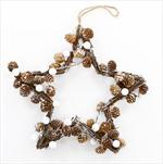 Hvězda závěs šišky/proutí 40cm natural/bílá - velkoobchod, dovoz květin, řezané květiny Brno