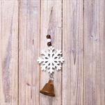 Vločka dřevo závěs 14cm bílá - velkoobchod, dovoz květin, řezané květiny Brno