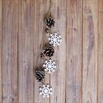 Závěs vločky/šišky 26cm bílá/natural - velkoobchod, dovoz květin, řezané květiny Brno