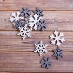 Vločky přízdoba dřevo 12ks 3-4cm bílá/šedá - velkoobchod, dovoz květin, řezané květiny Brno
