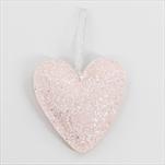 Srdce koženka závěs 12,5cm růžová gliter - velkoobchod, dovoz květin, řezané květiny Brno