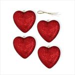 Srdce závěs pvc 4ks/7,5cm červená/gliter - velkoobchod, dovoz květin, řezané květiny Brno