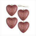 Srdce závěs pvc 4ks/7,5cm růžové zlato - velkoobchod, dovoz květin, řezané květiny Brno