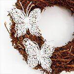 Motýl pvc 2ks/10cm bílá gliter - velkoobchod, dovoz květin, řezané květiny Brno