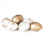 Vajíčka závěsná pvc 12ks/4cm mix zlatá - velkoobchod, dovoz květin, řezané květiny Brno
