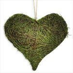 Srdce závěs mech/proutí 35cm zelená - velkoobchod, dovoz květin, řezané květiny Brno
