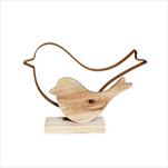 Ptáček kov/dřevo 20,5x15cm natural - velkoobchod, dovoz květin, řezané květiny Brno