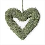 Srdce závěs proutí 35x34cm zelená - velkoobchod, dovoz květin, řezané květiny Brno