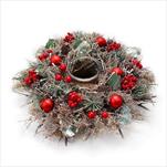 Svícen vánoční 35cm stříbrná/červená - velkoobchod, dovoz květin, řezané květiny Brno