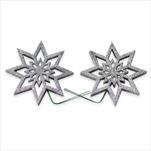 Hvězda pvc/drátek 2ks/8cm stříbrná - velkoobchod, dovoz květin, řezané květiny Brno